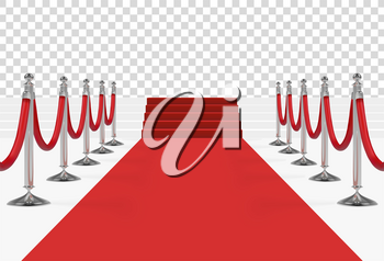 Red carpet with stairs, podium, red ropes and golden stanchions. Vector illustration.