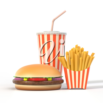 Fast food set on white background with shadow. Hamburger, french fries and cola in generic package with stripes. Graphic design element for restaurant advertisement, menu or poster. 3D illustration