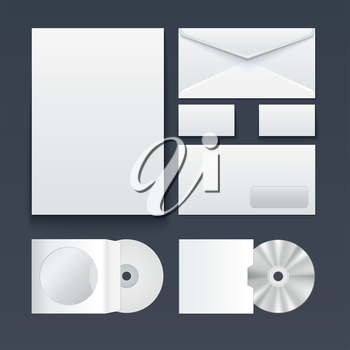 Corporate identity templates � blank, business cards, disk, pen, envelop. Isolated with soft shadows