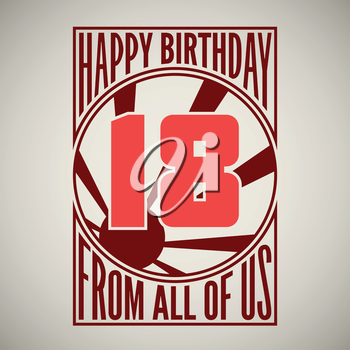 Retro poster. Birthday greeting, for eighteen years, vector banner.