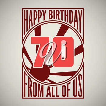 Retro poster. Birthday greeting, seventy years, vector banner.