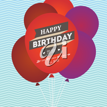 Happy birthday greeting card with balloons. Vector illustration for you