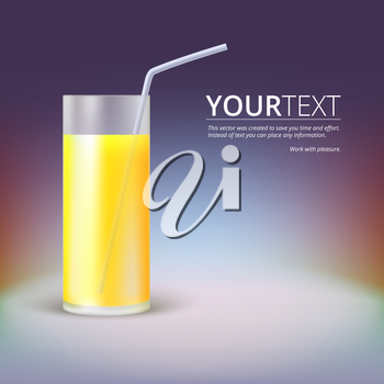 Glass of juice on a colored background, fitness composition.