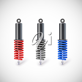 Car shock absorber and spring. Vector icon, isolated on white background