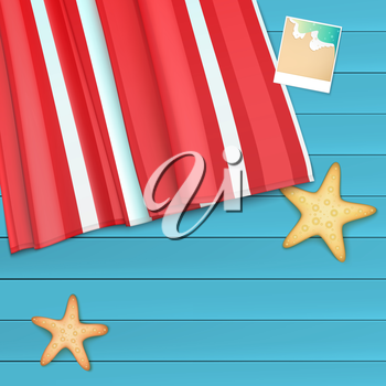 Summer background with photo, starfishes and copyspace, vector illustration