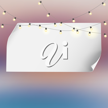 Festive background with banner and garland. Editable vector for your bussines and design