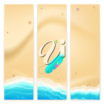 Set of vector banners with sunny sandy beach with turquoise sea tide, surfing board. Summer travel background, promotional poster for your business
