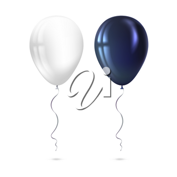 Inflatable air flying balloons isolated on white background. Close-up look at black and white balloons with reflects. Realistic 3D vector illustration