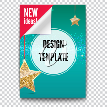 Business brochure, flyer design, layout template in A4 size. Paper poster with gold stars and glittering shine on backdrop, isolated on trasparent background, 3D illustration with text desig.