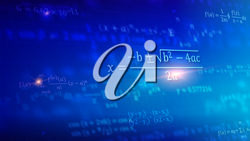 Mathematical formulas floating in perspective. Abstract blue background with Math equations on blackboard. Vector 3D illustration. Symbol of study exact Sciences.
