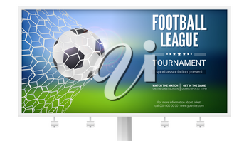 Billboard with movement of football ball. Game moment with goal, ball in the net, mesh. Football ball in goal. Poster of football or soccer games, tournaments, championships. 3D illustration