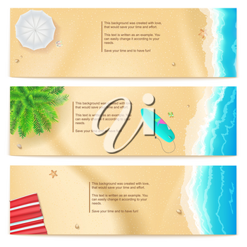 Set of summer travel banners. Tropical landscape, ocean, gold sand, beach Mat, palm, surfboard, top view. Horizontal template for summer touristic events and travel agency actions