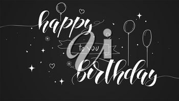Happy Birthday handwritten text, lettering design. Poster with hand-drawn doodle, sketch style on black. Text of the congratulation with the birthday Calligraphy for prints, posters, invitations.
