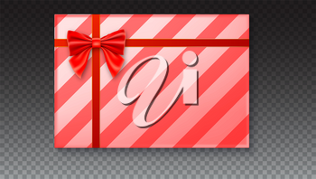 Gift box with big red bow and ribbon, isolated on transparent background. Top view on gift packaged in a paper with pattern
