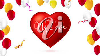 Romantic greeting card. Big red heart with color, inflatable balloons, abstract background. For my love, festive postcard template for greetings for your loved ones