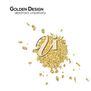 Spots with golden shimmering glitter isolated on white background. Abstract shapes of gold. Ink blots consist yellow shining dust. Glittering template for exclusive card, vip certificate