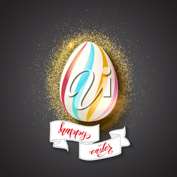 Painted egg for celebration of happy Easter on glittering golden dust background. Hand-drawn script text happy easter on vintage banner in doodle style. Vector 3d illustration for invitations, covers.