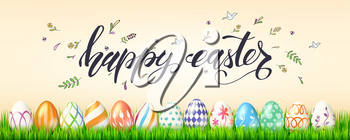 Poster for Happy Easter holidays. Painted eggs in green grass on background of handwritten text and spring sketches in doodles style. Template of banner, cover, leaflet for celebration of Easter.