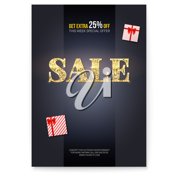Sale. Ad poster with golden glittering text Sales and gift boxes. Box for presents wrapped in stripped paper and tied red ribbon. Get extra discount twenty five percent off.