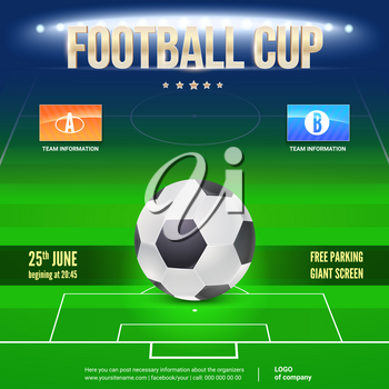 Football event poster design. Night football stadium in the spotlight with big ball. Place your text and emblem of participants. 3D illustration, template for poster, print design for events.