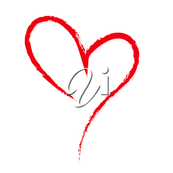 Hand-drawn, sketchy, doodle red heart on white backdrop. A symbol drawn with a brush. Template, mock-up for Valentine or Mother day, postcards, printing on t-shirts with love for loved ones.