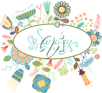 Various flowers and leaves isolated on white background. Hand-written text. There is blank space for your text in the center. EPS 8.