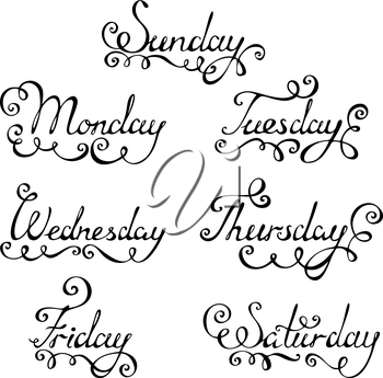 Days of week for your design isolated on white background.EPS 8.