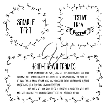 Hand drawn festive lights. There is place for your text in the center.