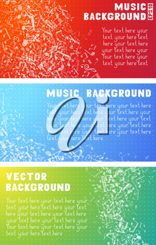 Set of white music elements on red, blue and green backgrounds. Music abstract wave of notes and treble clefs.