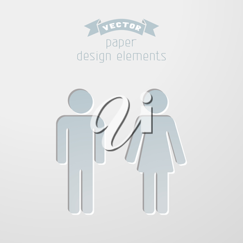 Paper design elements. Pictograms for your design. Toilet signs in minimal style.