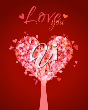 Bright love tree. Red Valentine's card. There is place for your text.