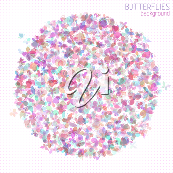 Set of various butterflies in the circle shape isolated on light background.
