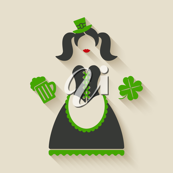 St. Patricks Day girl with beer mug and clover - vector illustration. eps 10
