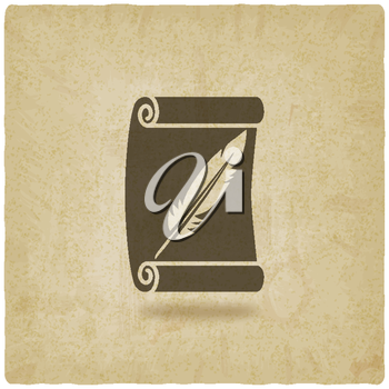 scroll and feather writing symbol old background - vector illustration. eps 10