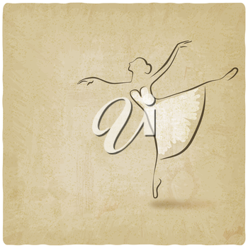 ballerina dancing studio symbol old background - vector illustration. eps 10
