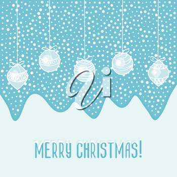 blue card with Christmas balls  - vector illustration. eps 8