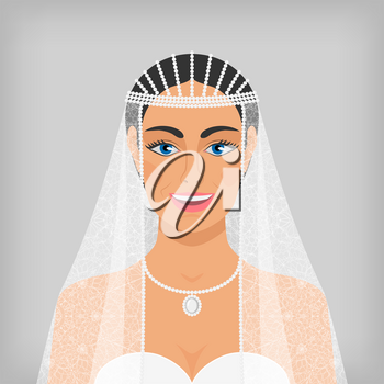 beautiful smiling bride in veil. vector illustration - eps 10