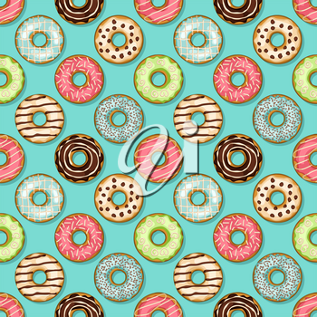 donuts seamless pattern on blue background. vector illustration - eps 8