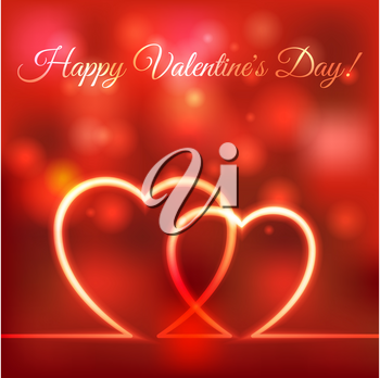 happy Valentines greeting card. hearts red blurred background - vector illustration. eps 10