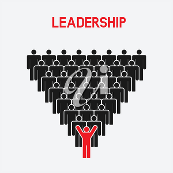 Leadership and teamwork concept. one man with raised hands - vector illustration. eps 8