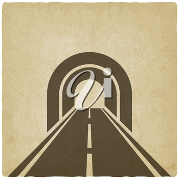 road through tunnel old background - vector illustration. eps 10