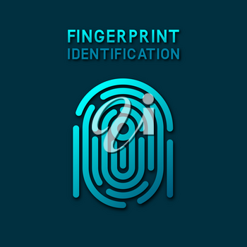 blue fingerprint identification symbol. vector illustration - eps 10