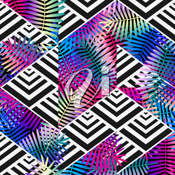 bright colors exotic leaves on geometric background. patchwork seamless pattern. vector illustration - eps 8