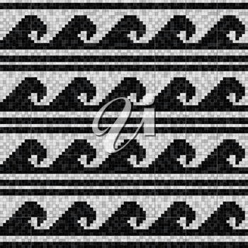 stylized waves mosaic seamless pattern in antique roman style. vector illustration - eps 10