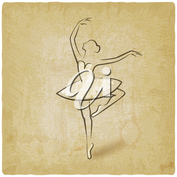 sketch ballet posture. dancing studio symbol vintage background. vector illustration - eps 10