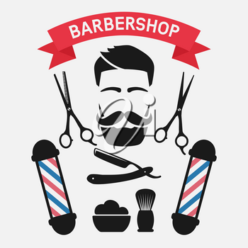 Male face with barbershop tools. vector illustration - eps 10