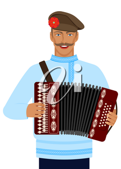 man in Russian national costume with accordion. vector illustration - eps 10