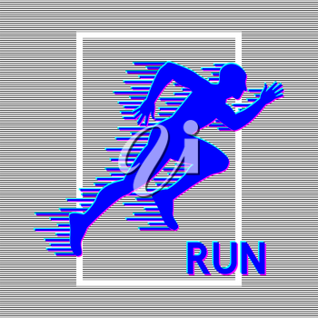 Running man silhouette with glitch effect. Vector illustration