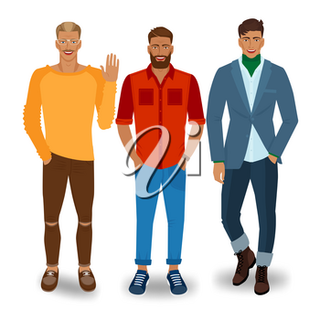 Three handsome fashionable men. vector illustration - eps 10