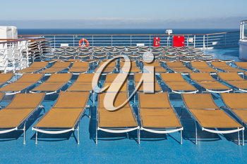 outdoor relaxation area on board of cruise liner